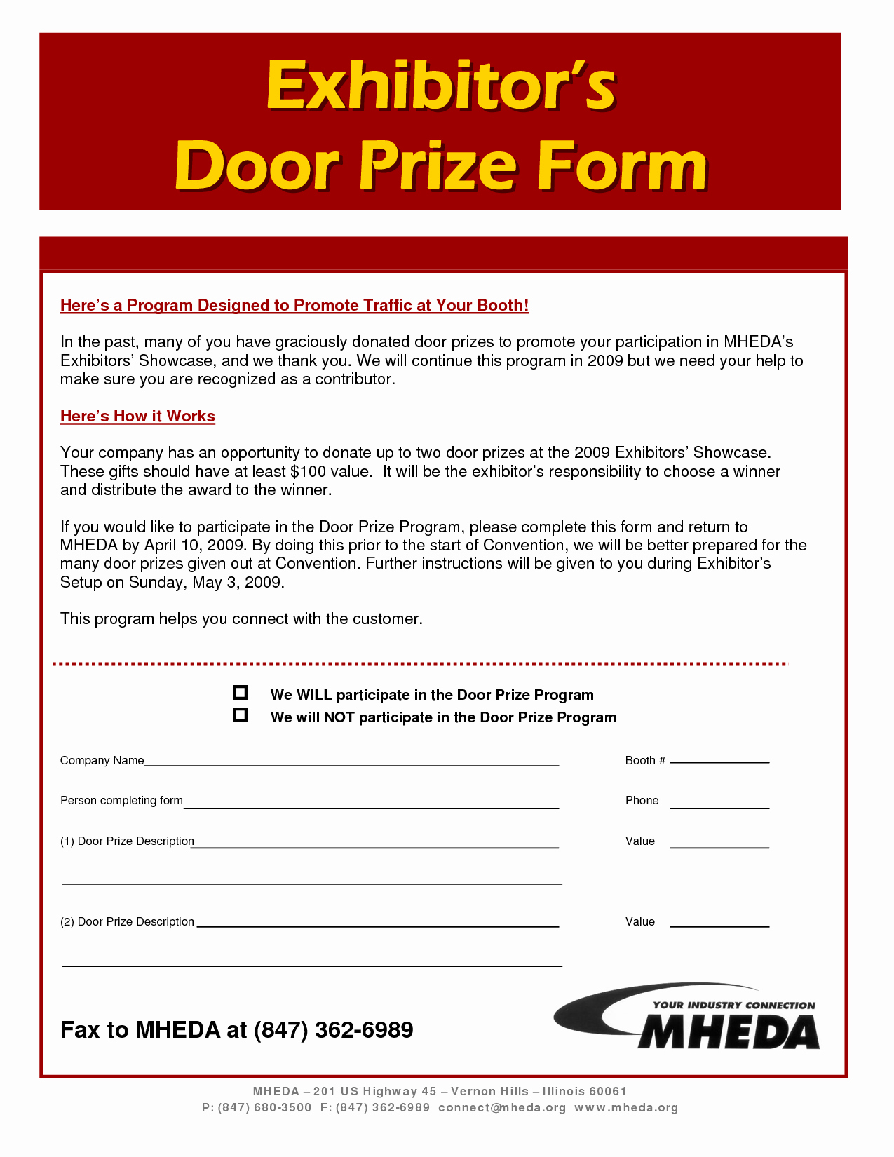 Door Prize Entry form Template Lovely 7 Best Of Prize Registration form Template