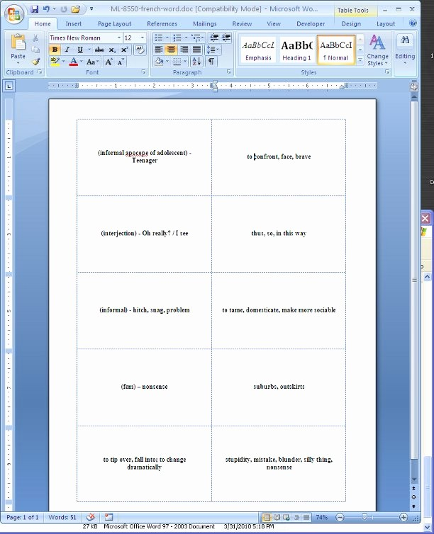 Double Sided Flash Card Template Fresh Flash Cards Template for Microsoft Word 2003 Free