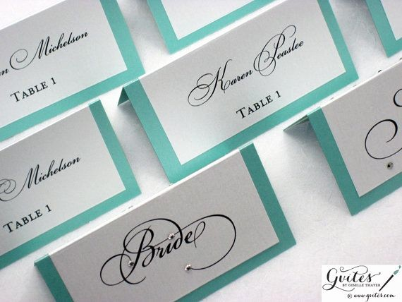 Double Sided Tent Card Template Awesome Tiffany Blue Place Cards Double Sided Wedding Place