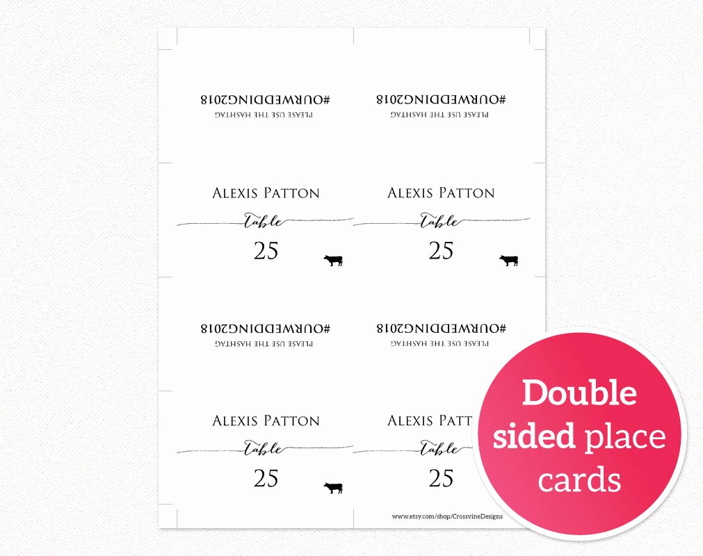 Double Sided Tent Card Template Fresh Hashtag Place Cards · Wedding Templates and Printables
