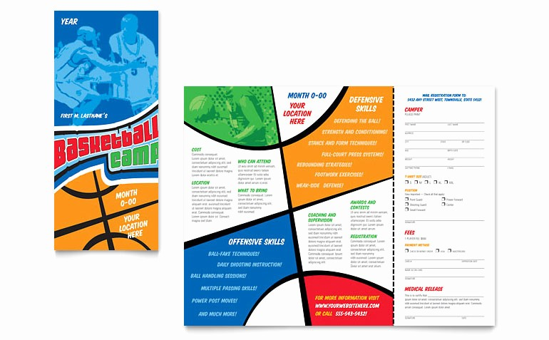 Download Brochure Templates for Word Beautiful Basketball Sports Camp Brochure Template Word & Publisher