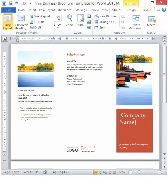 Download Brochure Templates for Word Luxury Free Business Brochure Template for Word 2013