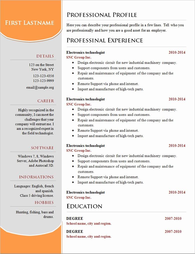 Download Free Professional Resume Templates Inspirational 70 Basic Resume Templates Pdf Doc Psd