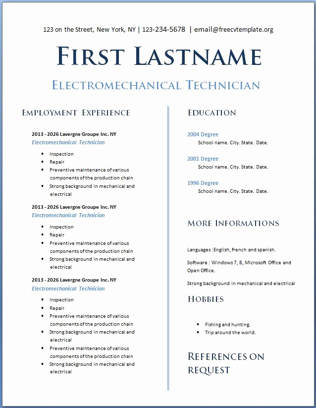 Download Free Professional Resume Templates Luxury Teens with No Experience – Free Cv Template Dot org