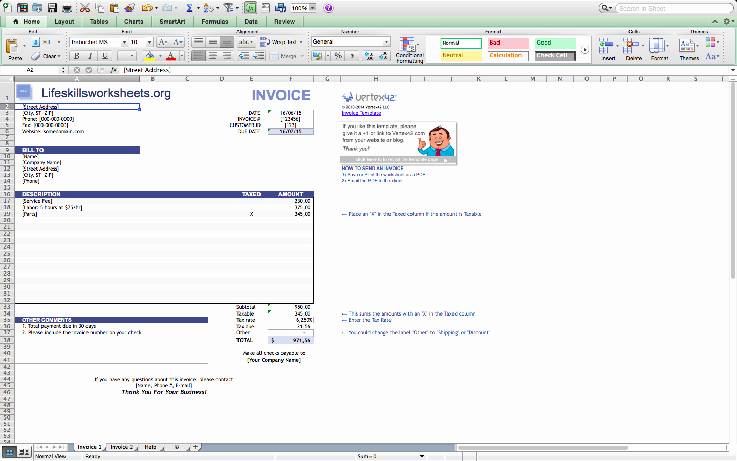 Download Invoice Template for Mac Lovely Invoice Template Excel Mac