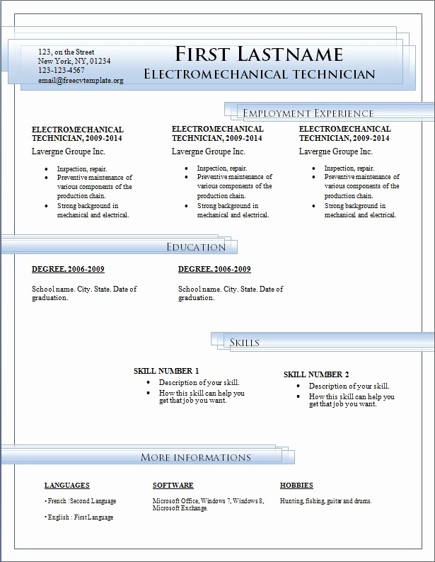 Download Microsoft Word Resume Template Lovely Resume Templates Free Download for Microsoft Word