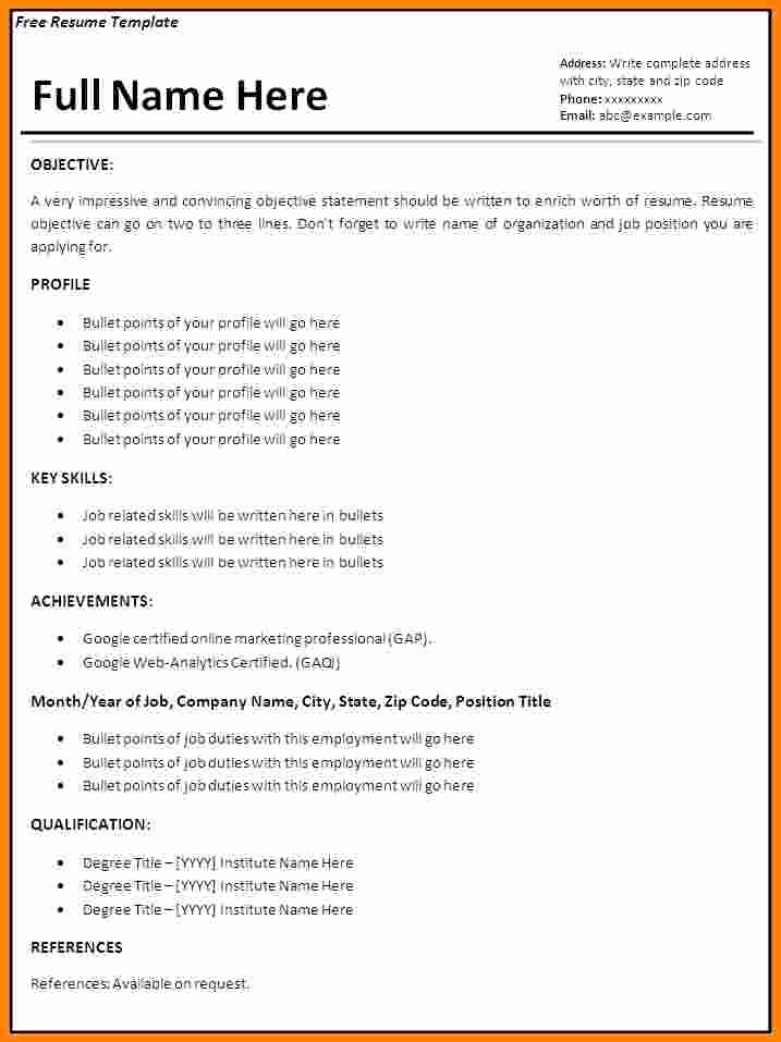 Download Ms Word Resume Template Fresh 7 Job Resume format Ms Word