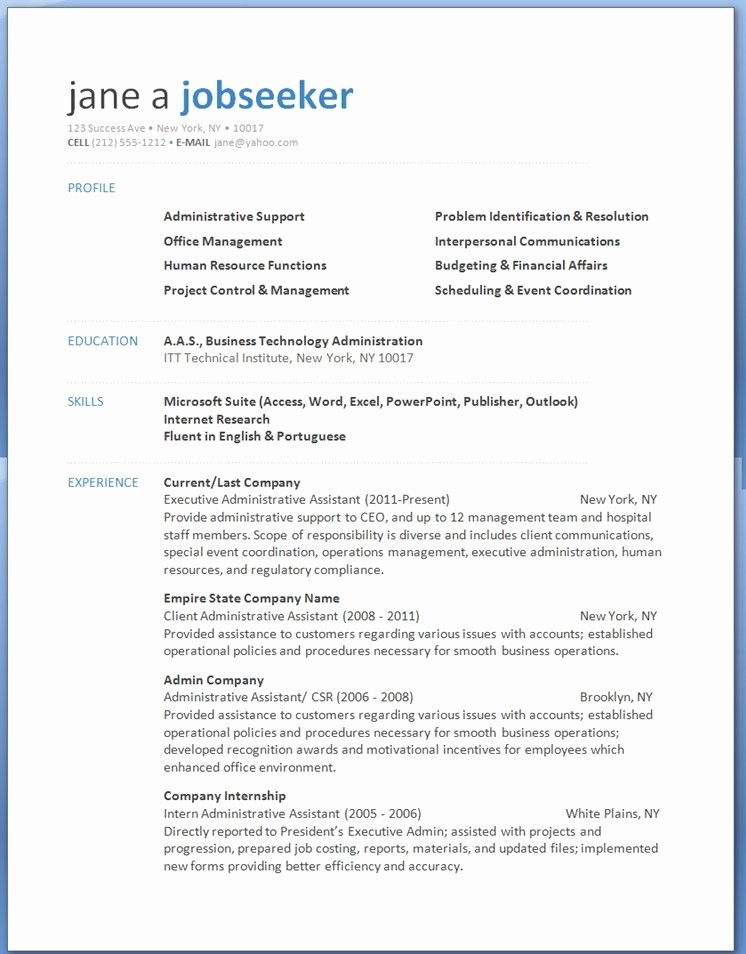 Download Ms Word Resume Template Lovely Word 2013 Resume Templates