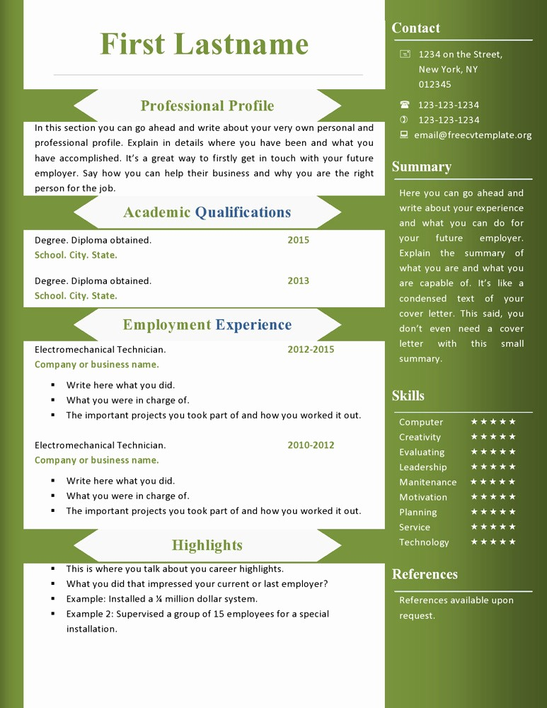 Download Ms Word Resume Template Unique Free Cv Resume Templates 360 to 366 – Free Cv Template