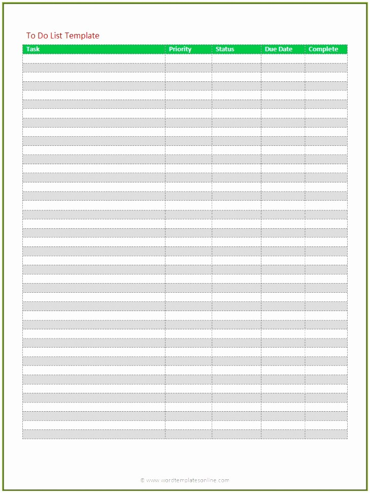 Download to Do List Template Unique 6 Microsoft to Do List Template for Word Uprvt