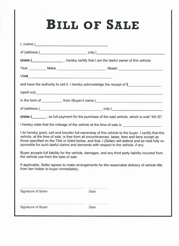 Downloadable Bill Of Sale Template Elegant Free Printable Bill Of Sale Templates form Generic