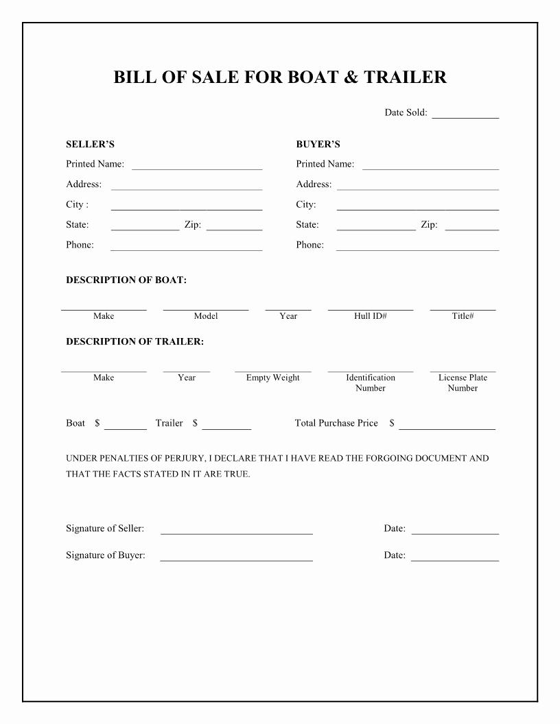 Downloadable Bill Of Sale Template Inspirational Printable Sample Champer Bill Of Sale form