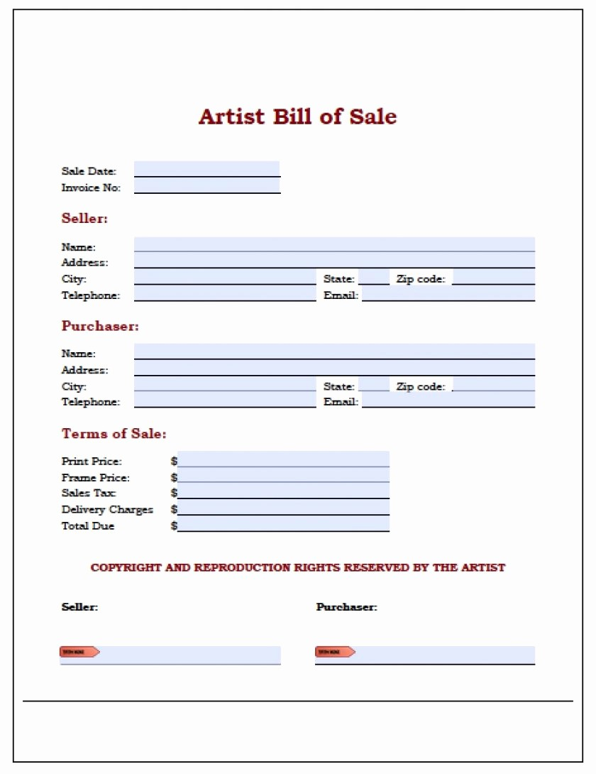 Downloadable Bill Of Sale Template New Download Bill Sale Template