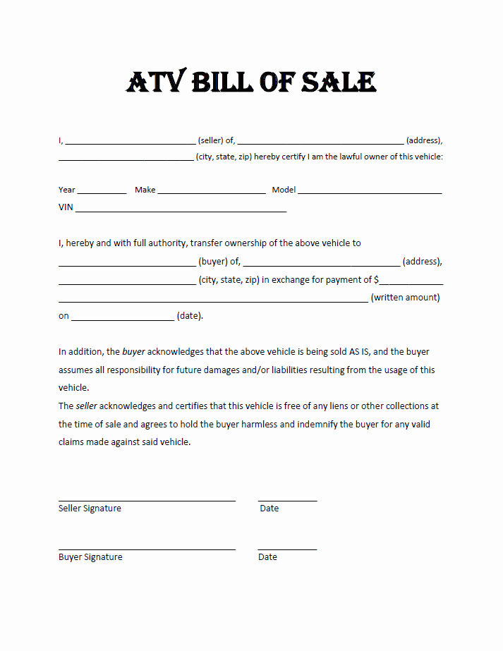 Downloadable Bill Of Sale Template Unique atv Bill Sale Template