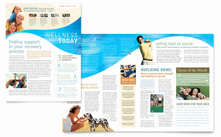 Downloadable Newsletter Templates for Word Awesome Physical therapist Newsletter Template Word & Publisher