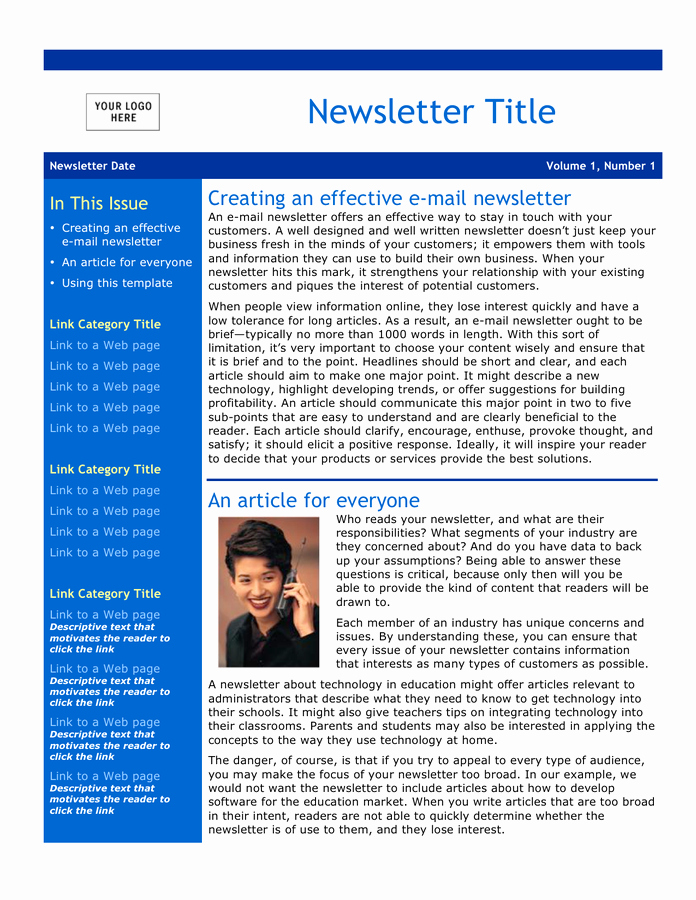 Downloadable Newsletter Templates for Word Fresh Email Newsletter Template Free Documents for
