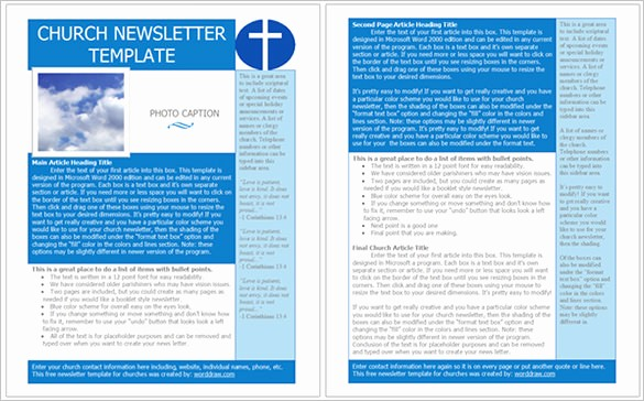 Downloadable Newsletter Templates for Word Luxury 4 Church Newsletter Templates