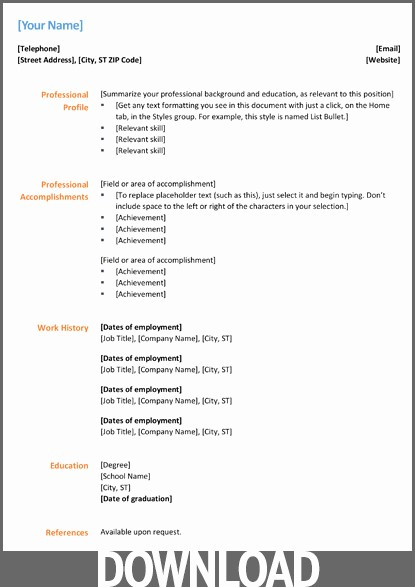 Downloadable Resume Template Microsoft Word Unique Download 12 Free Microsoft Fice Docx Resume and Cv Templates