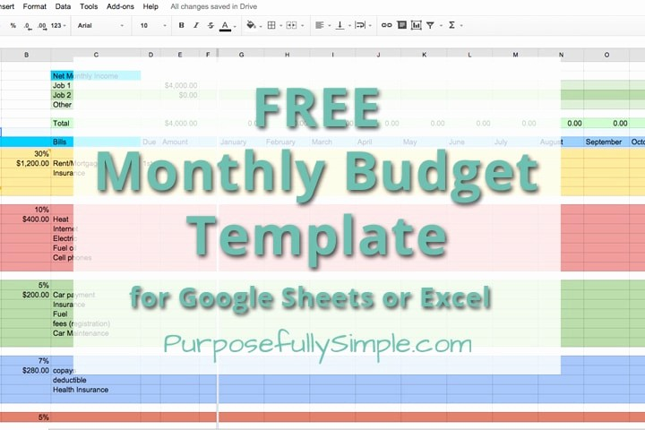 Easy Budget Spreadsheet Template Free Beautiful Free Monthly Bud Template Purposefully Simple