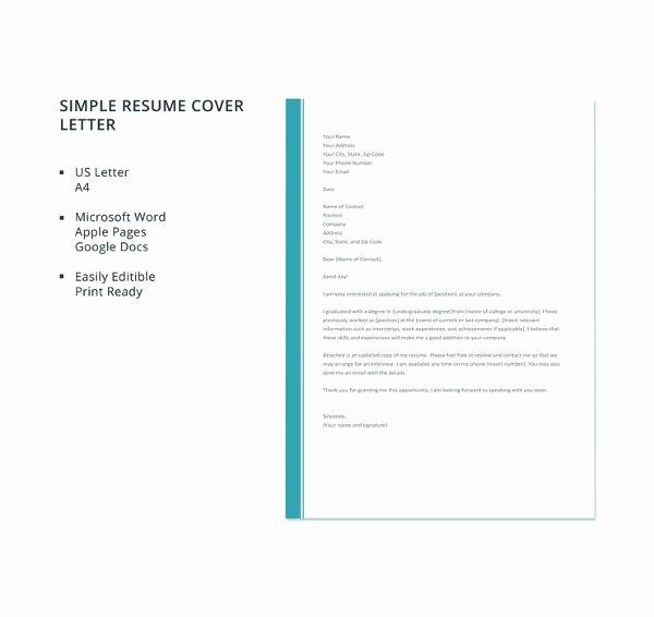 Easy Cover Letter for Resume Elegant 51 Simple Cover Letter Templates Pdf Doc