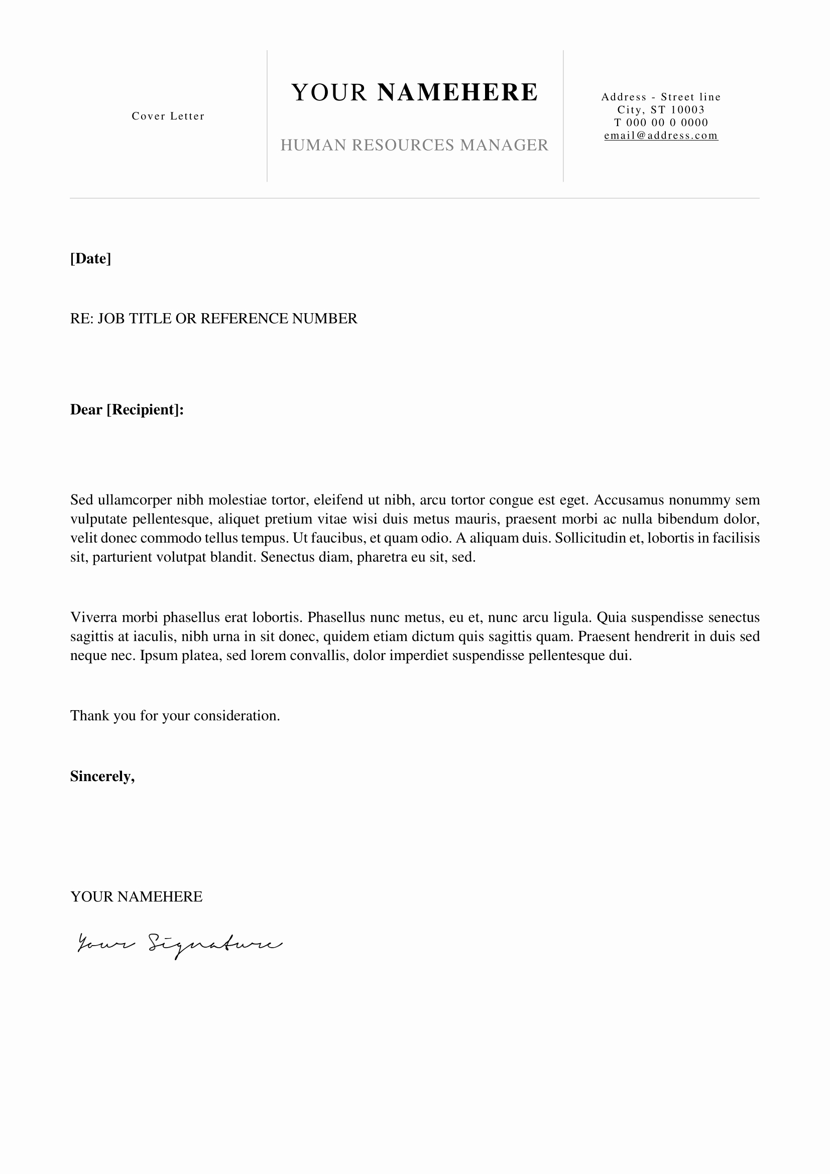 Easy Cover Letter for Resume New Kallio Simple Resume Word Template Docx