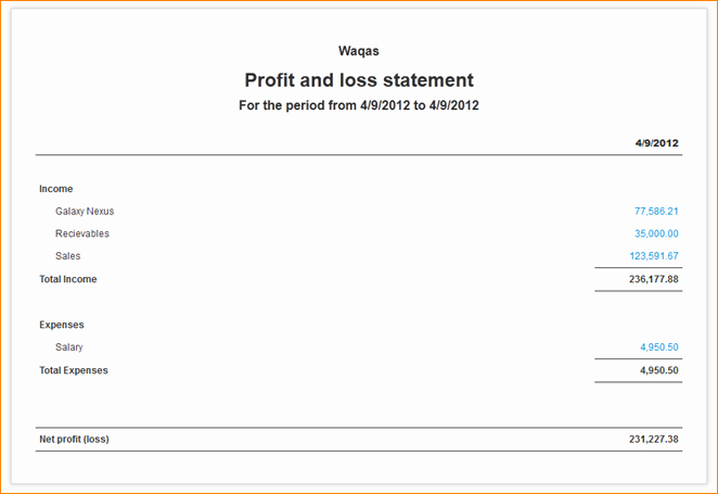 Easy Profit and Loss Template New Simple Profit and Loss Statement