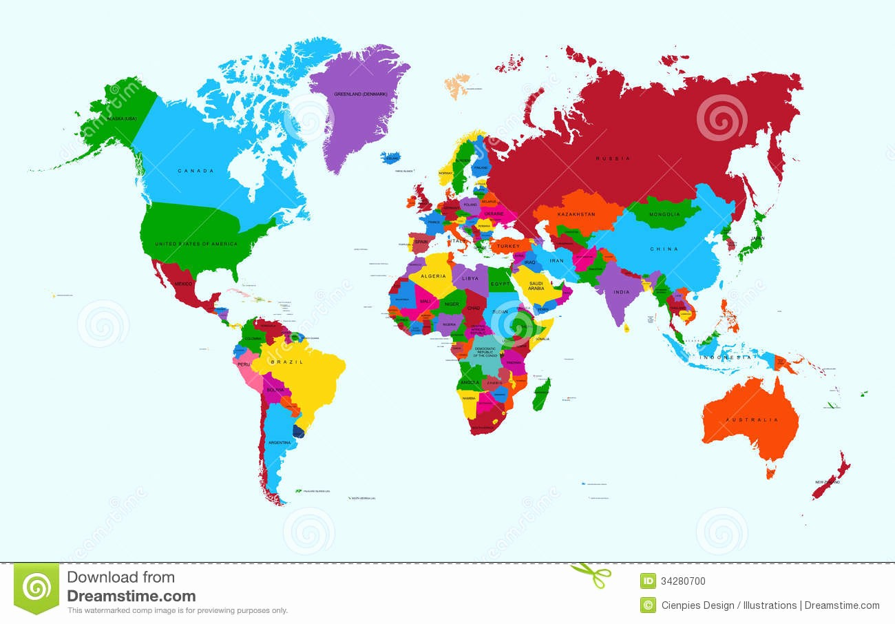 Edit Map Of the World Awesome World Map Colorful Countries atlas Eps10 Vector F Stock