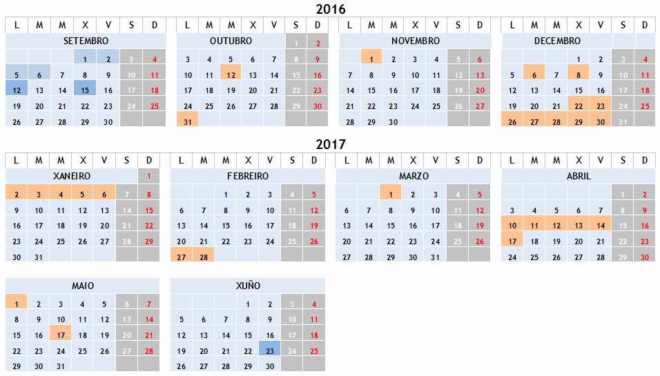 Editable Calendar 2016-17 Beautiful Calendario Escolar 2016 2017