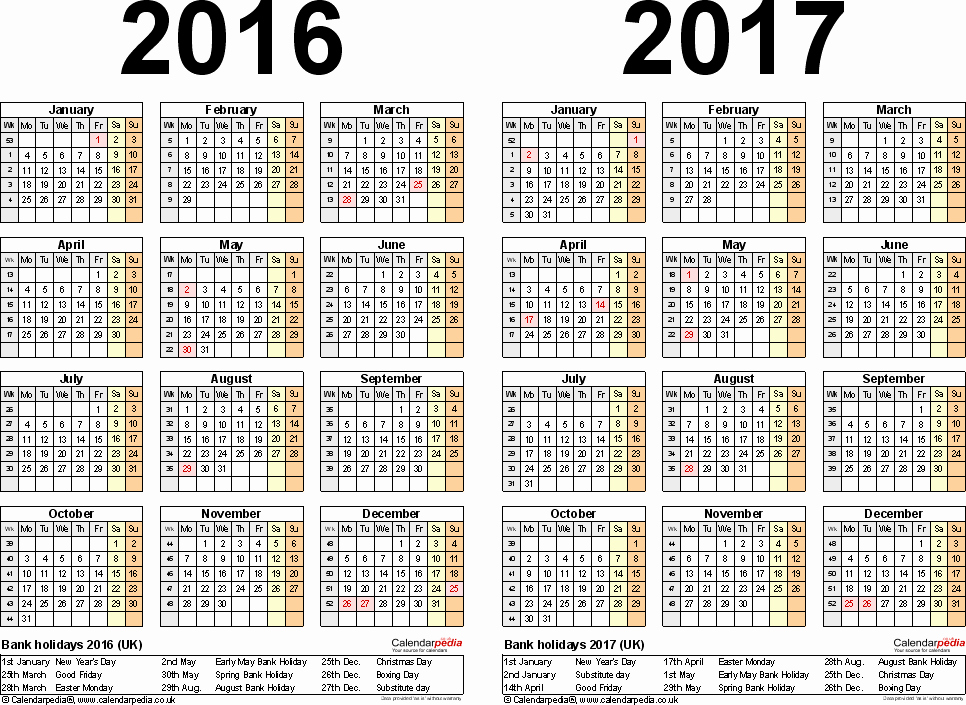 Editable Calendar 2016-17 Beautiful Two Year Calendars for 2016 & 2017 Uk for Pdf
