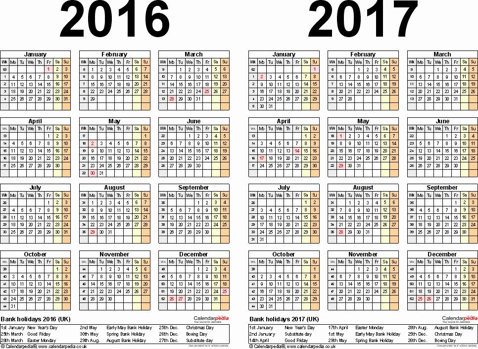 Editable Calendar 2016-17 Beautiful Two Year Calendars for 2016 & 2017 Uk for Pdf
