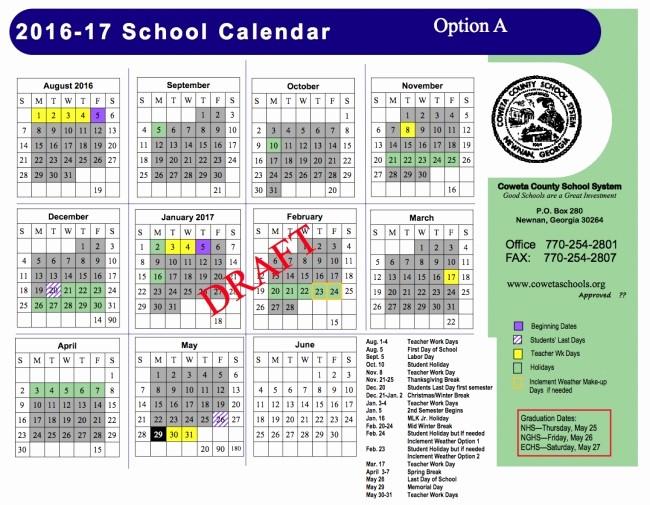 Editable Calendar 2016-17 Elegant Cherokee County Georgia School Calendar