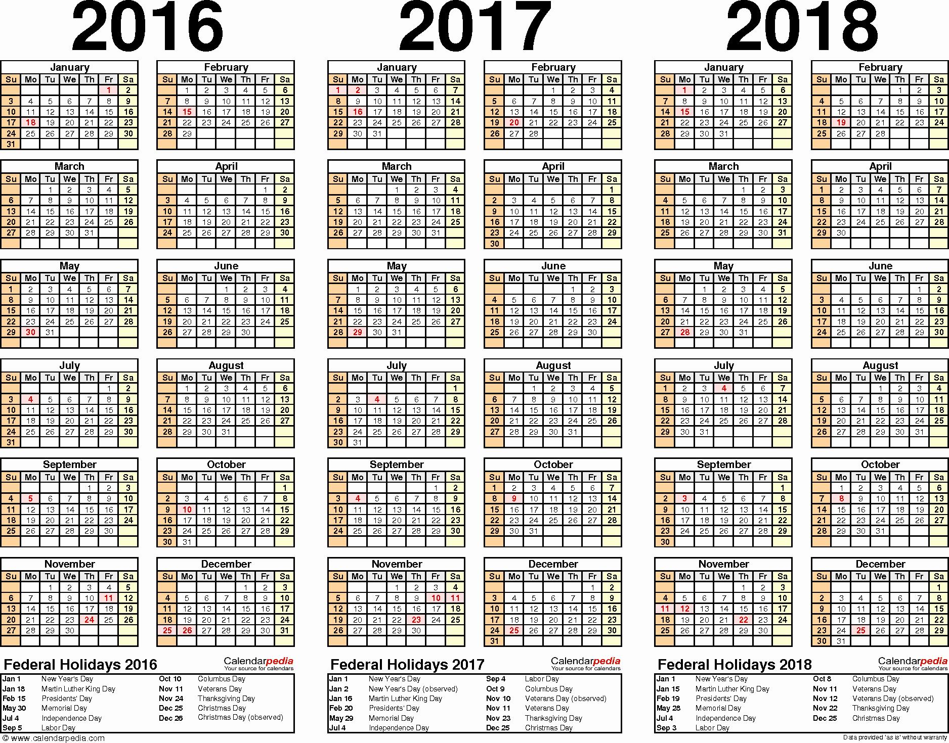 Editable Calendar 2016-17 Inspirational 2016 2017 2018 Calendar 4 Three Year Printable Pdf Calendars