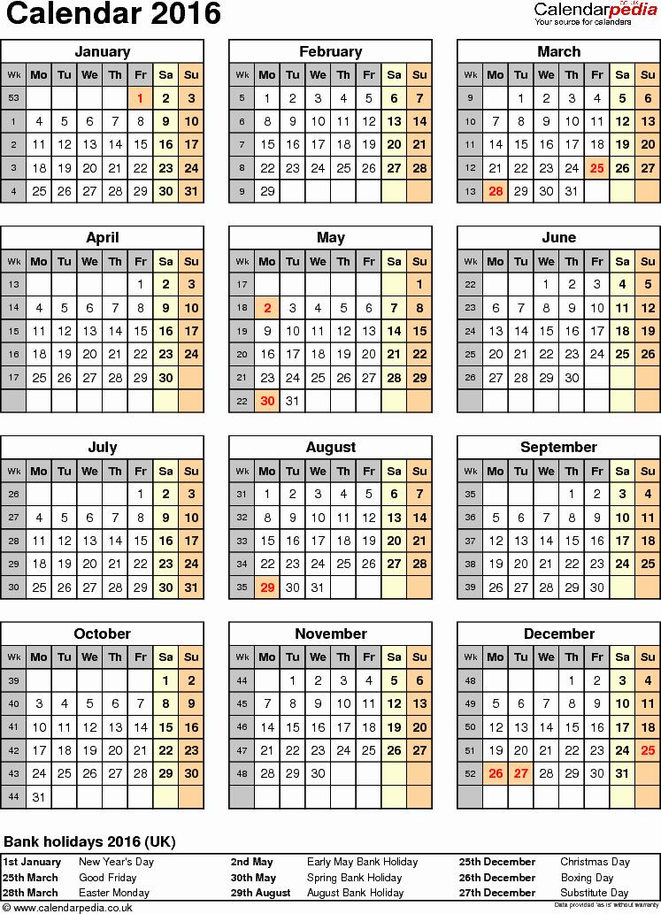 Editable Calendar 2016-17 Luxury Excel Calendar 2016 Uk 16 Printable Templates Xlsx Free