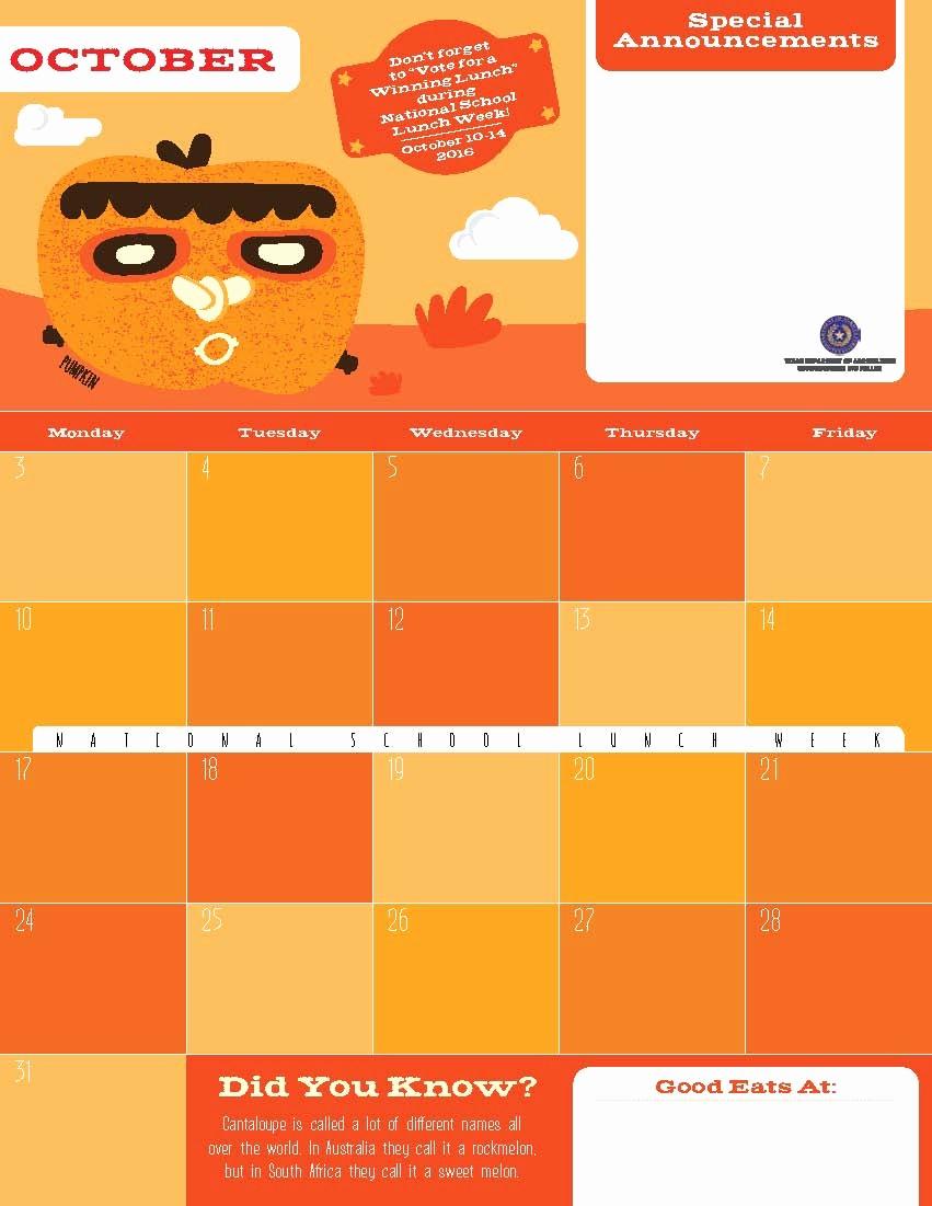 Editable Calendar 2016-17 New F&n Menu Calendar Templates