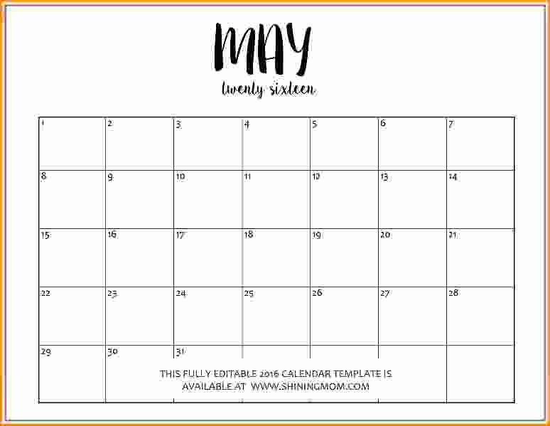 Editable Calendar 2017-2018 Awesome Editable Calendar Template