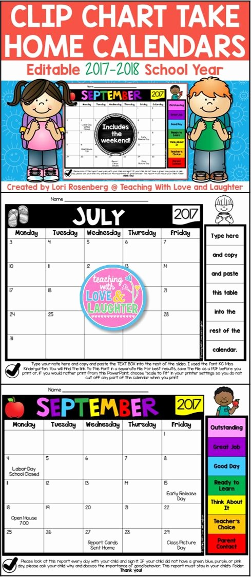 Editable Calendar 2017-2018 Awesome Editable Clip Chart Behavior Calendars for the 2017 2018