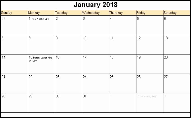 Editable Calendar 2017-2018 Best Of Printable January 2018 Calendars Editable
