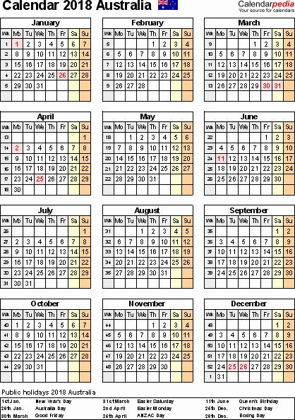 Editable Calendar 2017-2018 Elegant 2018 Calendar Australia