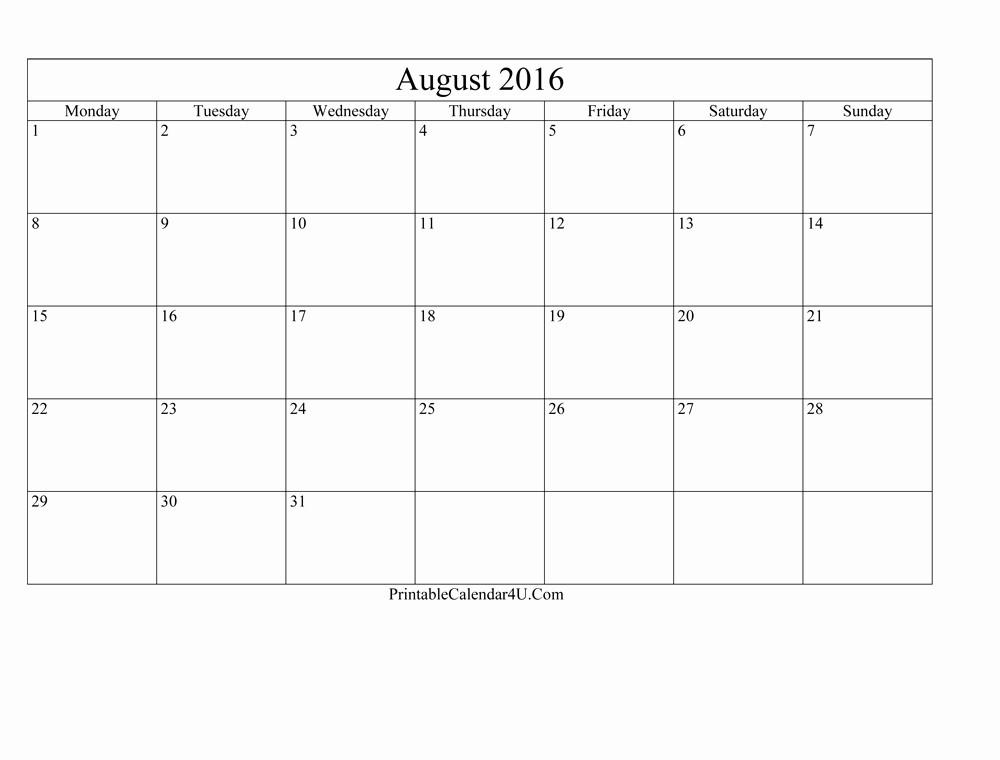 Editable Calendar 2017-2018 Fresh Blank Editable August 2016 Calendar Printable Calendar