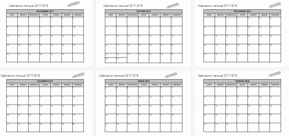 Editable Calendar 2017-2018 Inspirational Calendario Mensual 2017 2018 Planifica Tu Curso Editable