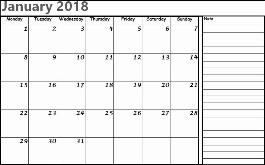 Editable Calendar 2017-2018 Lovely January 2018 Calendar Editable Printable