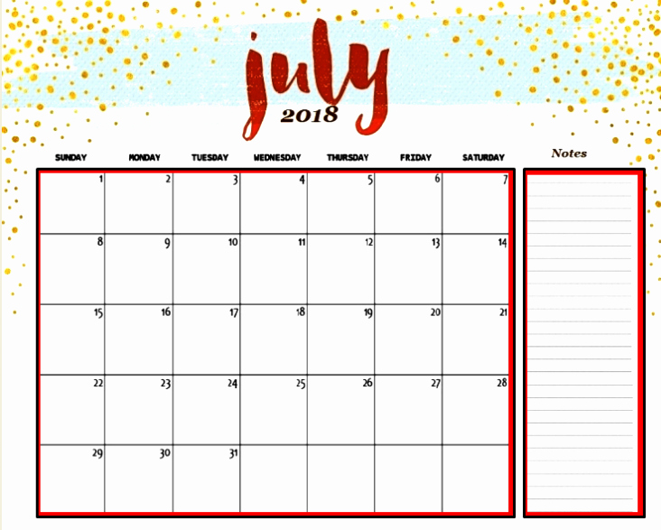Editable Calendar 2017-2018 Lovely July 2018 Calendar Editable