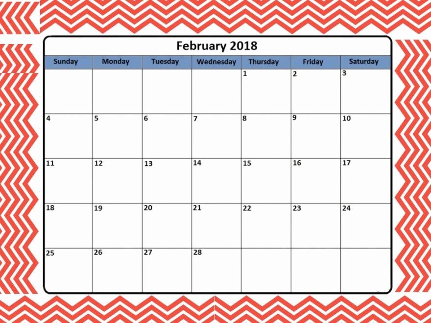 Editable Calendar 2017-2018 Luxury 2018 February Calendar Editable