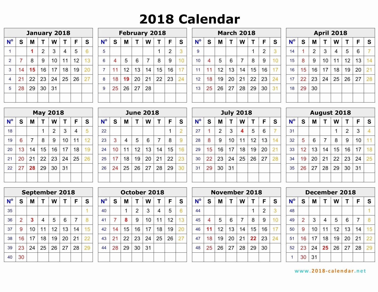 Editable Calendar 2017-2018 Luxury 2018 Weekly Printable Calendar