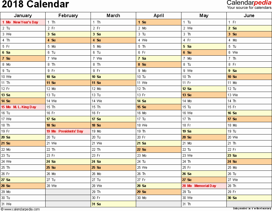 Editable Calendar 2017-2018 Unique 2018 Calendar Excel