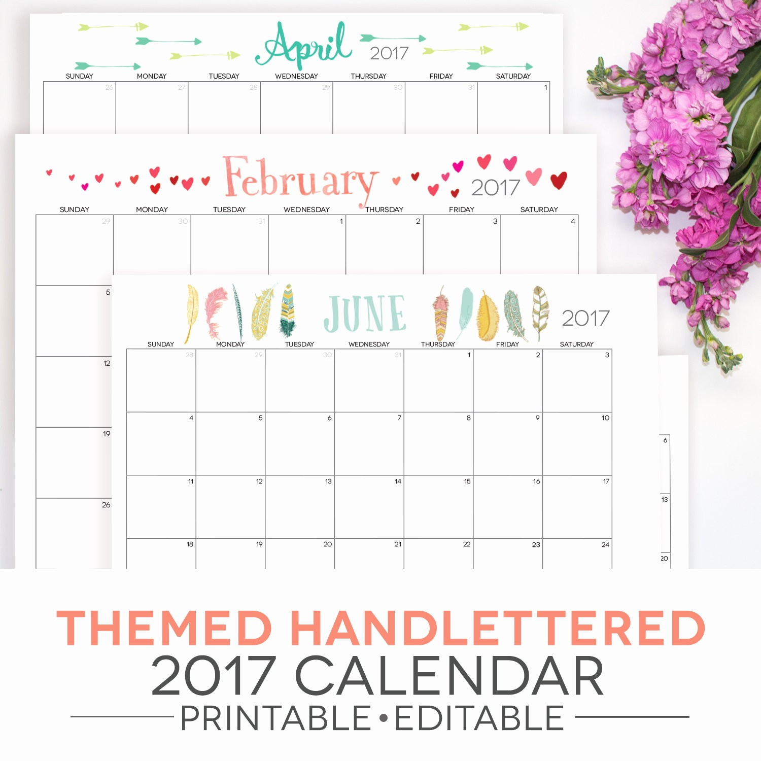 Editable Calendar 2017-2018 Unique Calendar Printable 2018 2017 Included themed Fillable Pdf