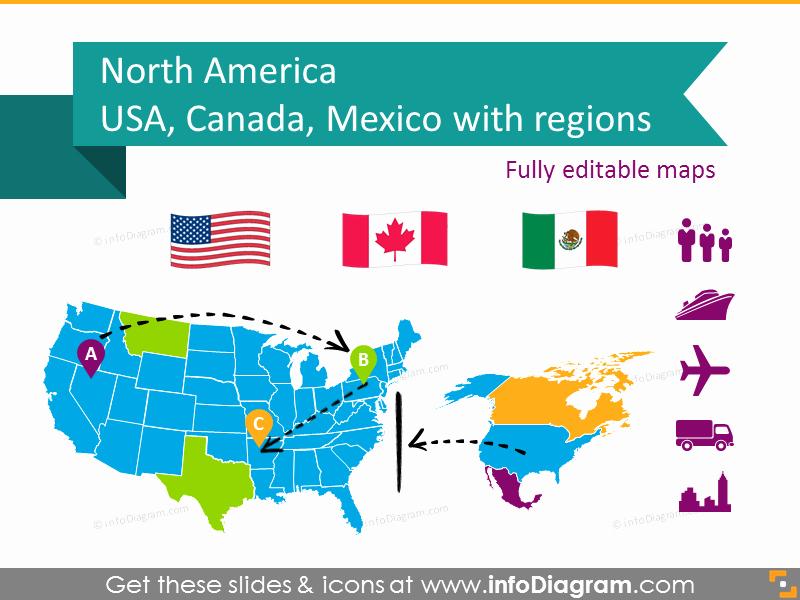 Editable Maps Of north America Beautiful Editable Maps Icons Usa Canada Mexico north America