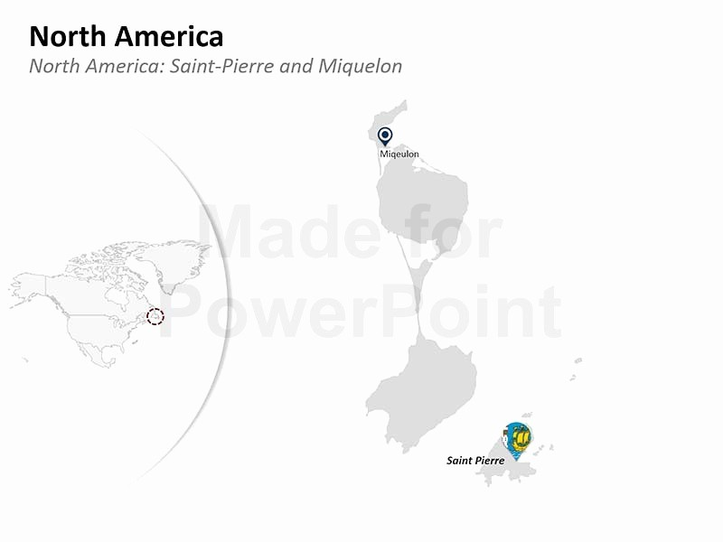 north america editable ppt map