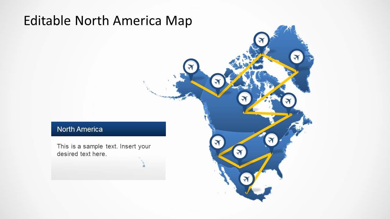 Editable Maps Of north America Elegant north America Map Template for Powerpoint Slidemodel