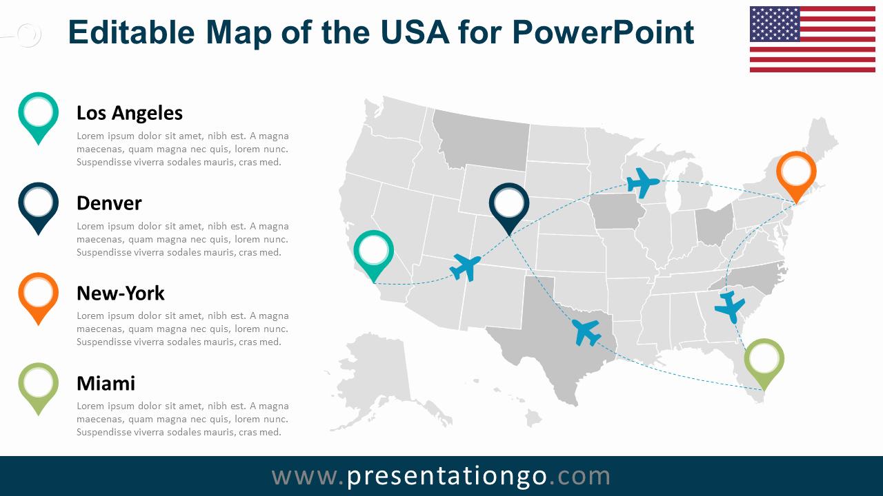 Editable Maps Of north America Fresh Usa Editable Powerpoint Map Presentationgo